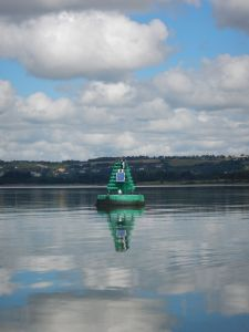 A seagull enjoying the seta on a buoy on this rare occasion of no wind